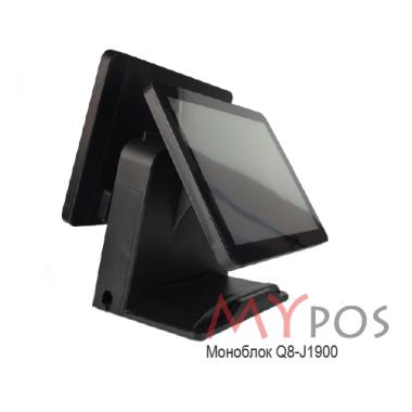 "Сенсорный POS-компьютер моноблок myPOS Q8  15.6"" LCD, J1900, RAM 4Gb, SSD 120Gb, 6 USB, 2 RS232, VGA, HDMI"
