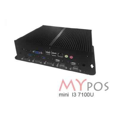 myPOS mini 3 I3-7100U, RAM 4Gb, SSD 120GB, 10 USB (6 USB2.0, 4 USB 3.0), 6 COM, 1 LAN, VGA, HDMI, Mini-PCIe, без ОС